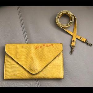 JJ Winters Boa Envelope Leather Crossbody Clutch